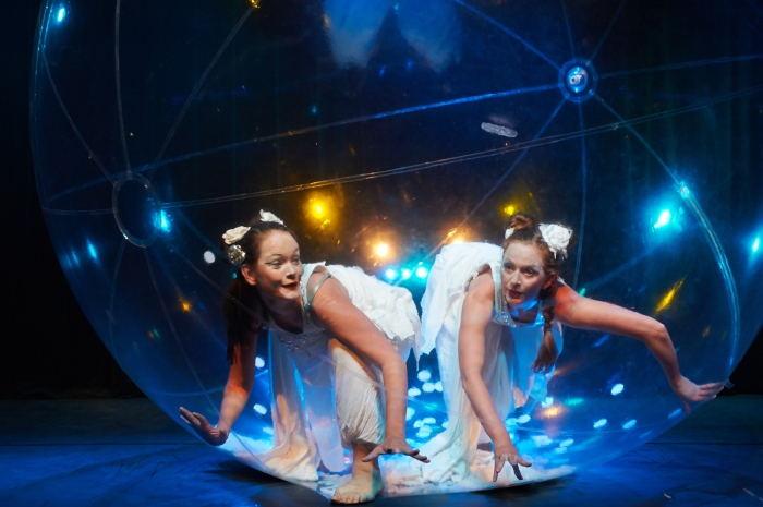Dancers in one plastic bubble