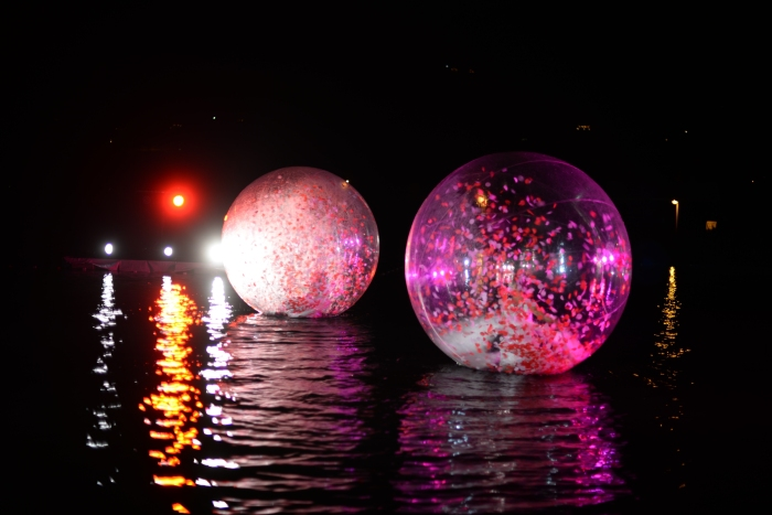 Transparent sphere show on the water.