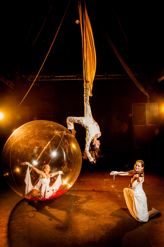 dancer in a transparent plastic bubble, a trapeziste on a tissues/trapeze and a violinist.